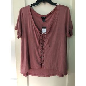 Tie up Rose Pink Colored Tee